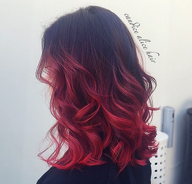 #ombre #red #black #alternative #creative #balayage