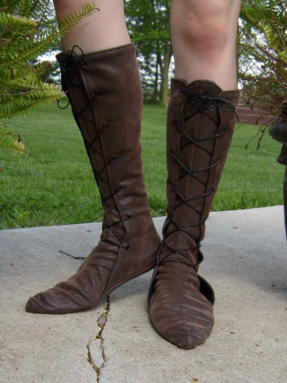 Tall Soft Leather Renaissance BootsLace Up by TheModestMaiden, $75.00