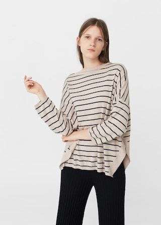 Striped cotton-blend sweater - f foSweaters Woman | MANGO United Kingdom