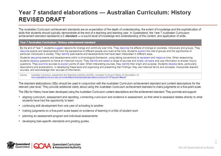 Year 7 History standard elaborations