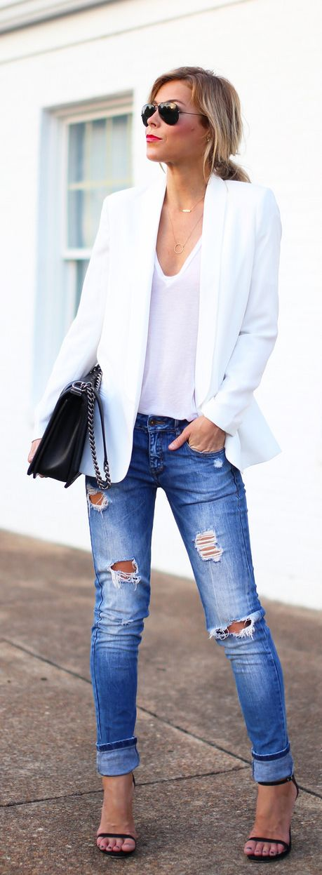 Mary Seng is wearing a white blazer and T-shirt from Nordstrom, jeans from Zara, shoes from Stuart Weitzman, sunglasses from RayBan and the bag is from Chanel