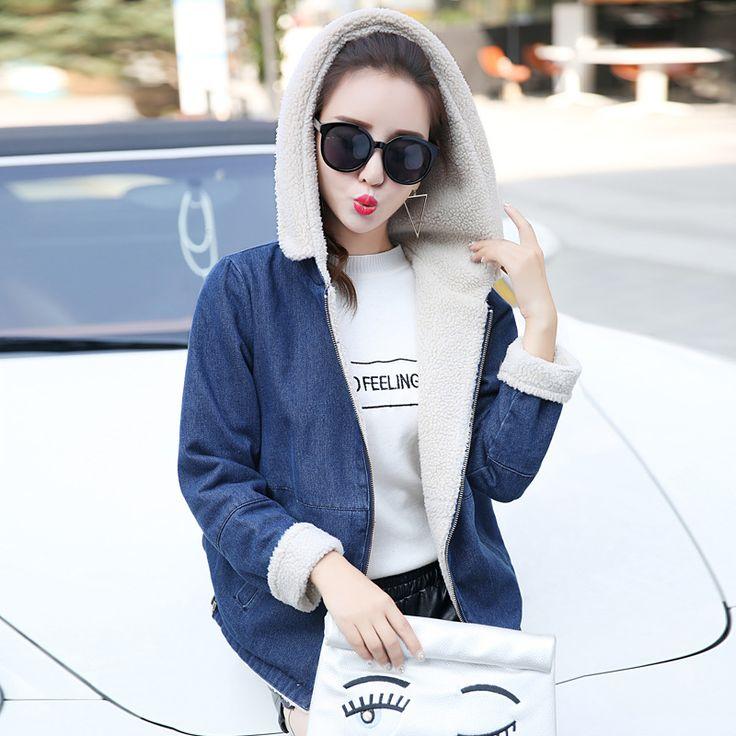 Hot Fashion Women Short Parkas Slim Dark Blue Jackets Coat Spliced Back Pocket Preppy Style Girl Hooded Cotton Denim Parkas Coat