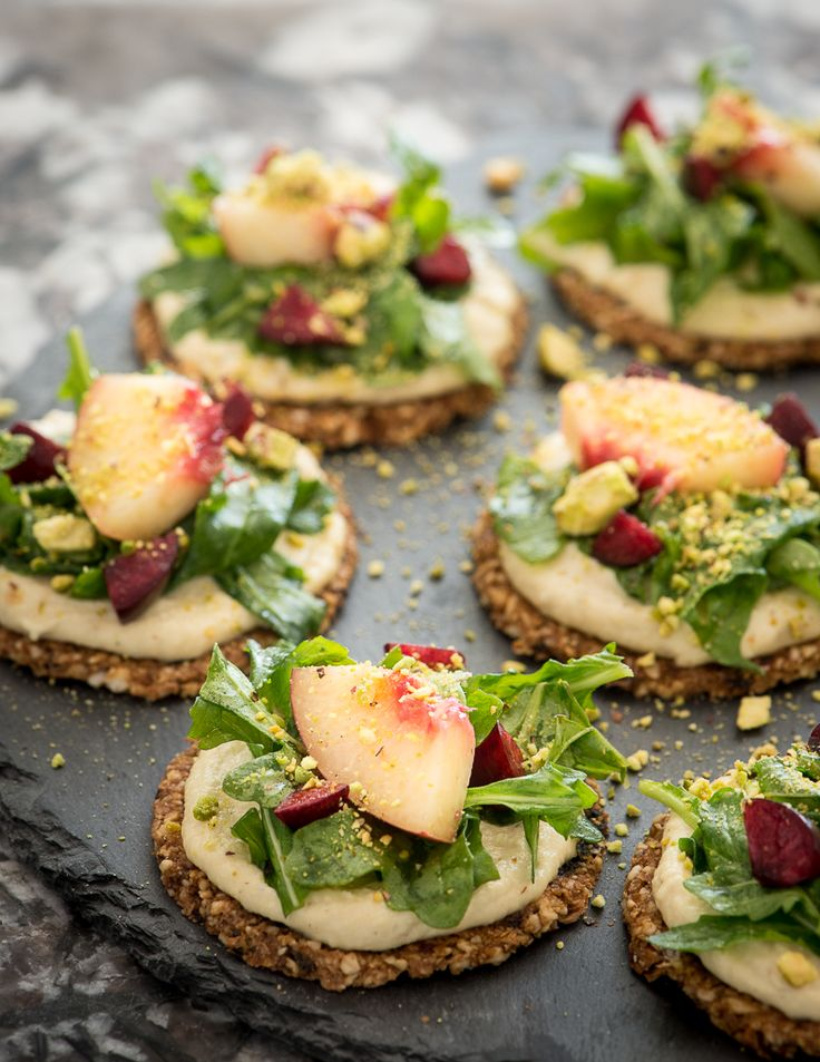 Dried Cherry Crackers with a Fresh Nectarine Salad and Pine Nut Raw Vegan Cheese