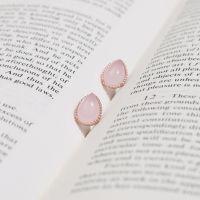 [쥬디앤폴] 듀 핑크 아게이트 원석 귀걸이 (순은/실버925) Judy and Paul Pink gemstones ear studs jewelry