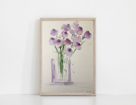 Original watercolor watercolor painting picture art purple flowers in the vase watercolor Flowers abstract