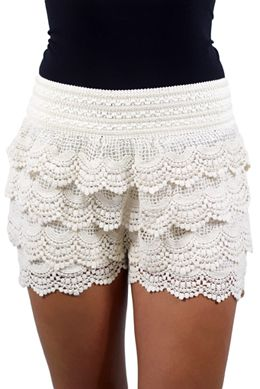SIMPLE YET CHIC Ivory Crochet Shorts! See more pics at www.savedbythedress.com #fashion #summertrends #crochetshorts