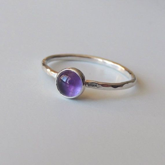 Amethyst Ring Sterling Silver Stacking Ring Bezel Set #ad
