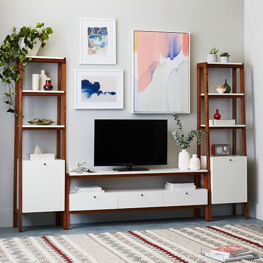 Modern Media Console - Large nICE IF DESK GOES IN BEDROOM.  wOULD GIVE YOU MORE STORAGE AND DISPLAY SPACE