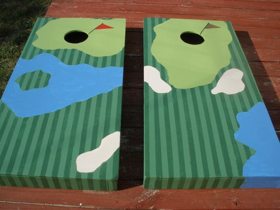"golf themed corn hole board | Custom Golf Holes ""Cornhole"" Board Sets -Only 130w/bags"