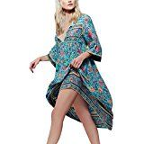 Amazon Mode Kleid Damen ,Binggong Frauen retro Unregelmäßig Blumendruck Langarm Boho Kleid Damen Abend Party mode lange lose Maxi…%#mode%