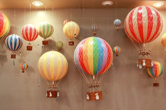 Check out these  these hot air balloons from Authentic Models! Perfect to hang them all over the ceiling of a nursery!