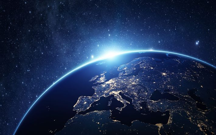 Download wallpapers Europe at night, from space, Earth, lights of cities, continent, open space, Europe