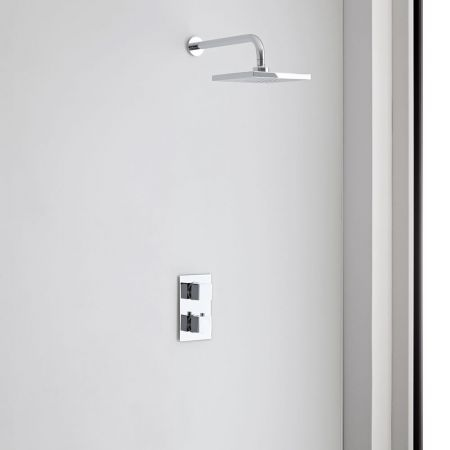 This square shower head and thermostatic shower valve will add contemporary style to any bathroom