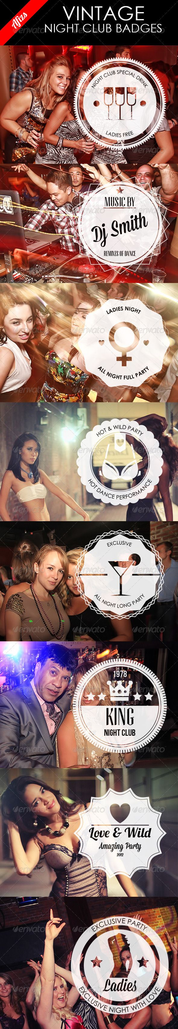 Night Club Vintage Badges  #GraphicRiver         in this file you will get 2 .ai and 2 .eps (eps with editable text and