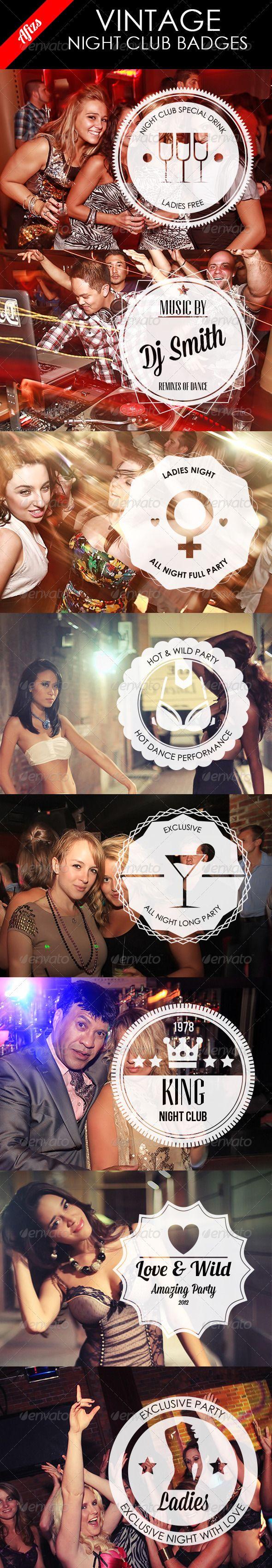Night Club Vintage Badges - GraphicRiver Item for Sale