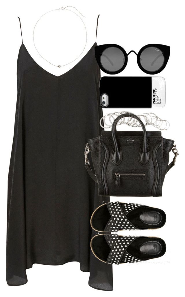 """""""Outfit for a summer party with a slip dress"""" by ferned ❤ liked on Polyvore featuring H&M, ASOS, CÉLINE, Quay and Case Scenario"""