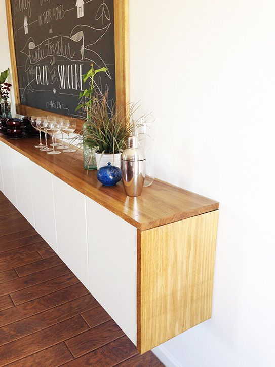 IKEA Hack - DIY credenza using kitchen cabinets and wood from Home Depot.