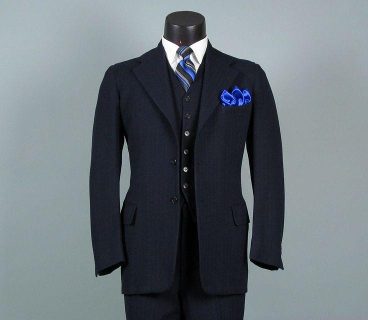 Vintage Men's Suits 1940S | Vintage Mens Suit 1940s Navy Wool Pinstripe 3 Three Piece Mens Vintage ...
