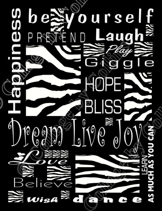 Zebra Print Poster Decor Wall Art INSPIRATION by collagebycollins, $14.99