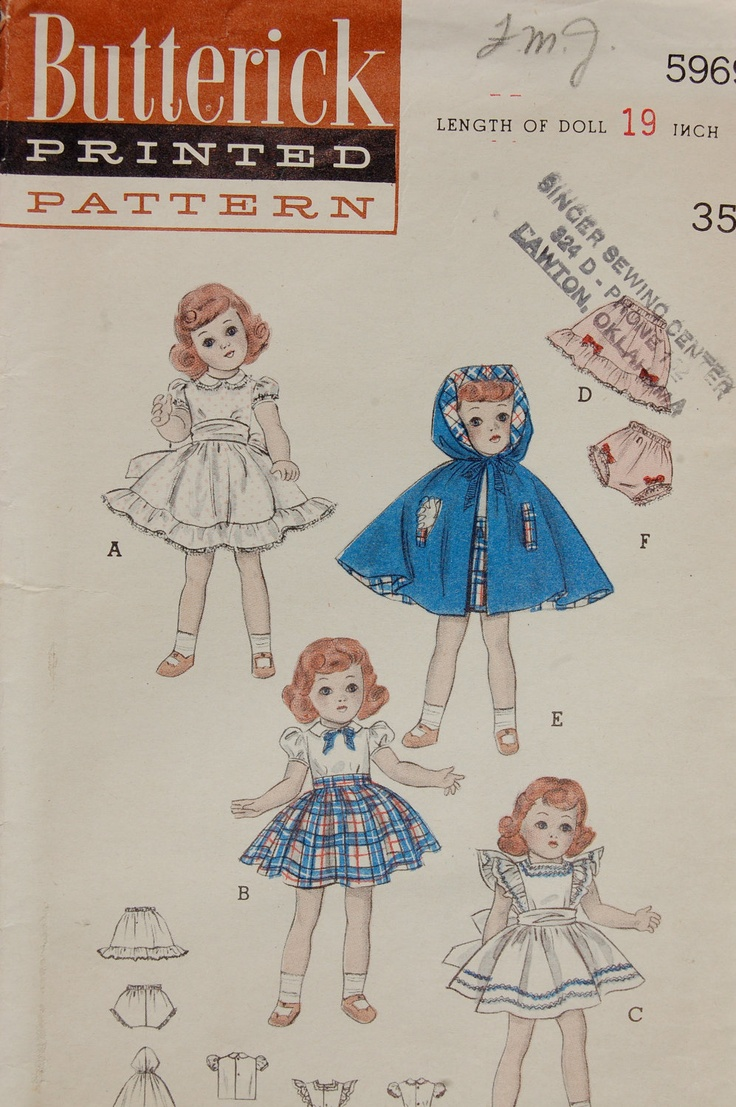 Butterick Vintage Sewing Pattern 5969 for Toni Dolls