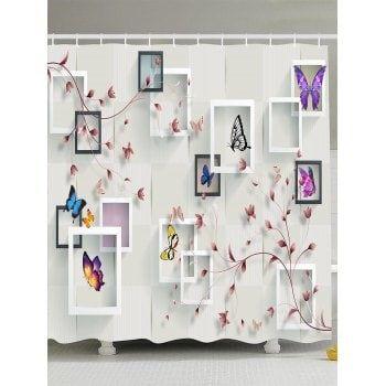 photo frame flower butterfly shower curtain
