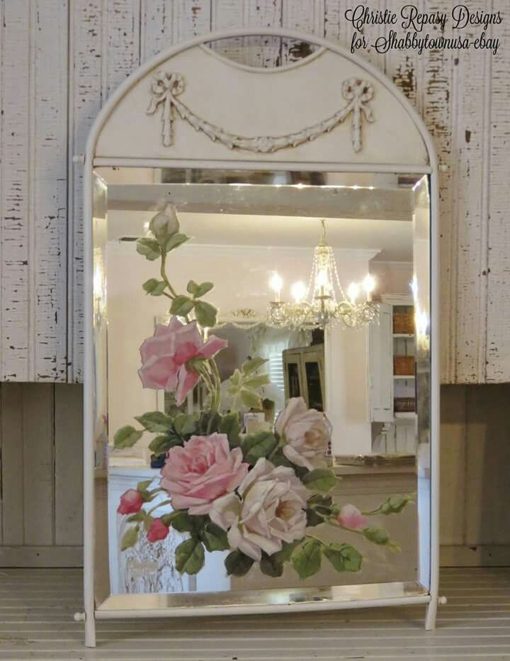 Sharing A New Listing On Ebay With Shabbytownusa This Week Vintage Mirror With Original Painted Spray Of White Mirror Painting Mirror Frame Diy Rose Painting