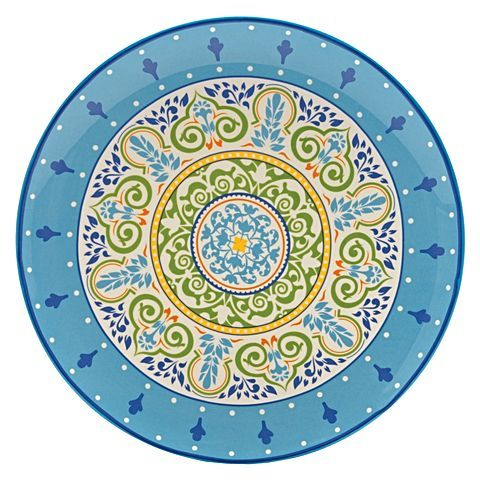 Embrace the alluring motifs and spirited colours of the handpainted Persia Round Platter, 31cm from Casa Domani at your table.