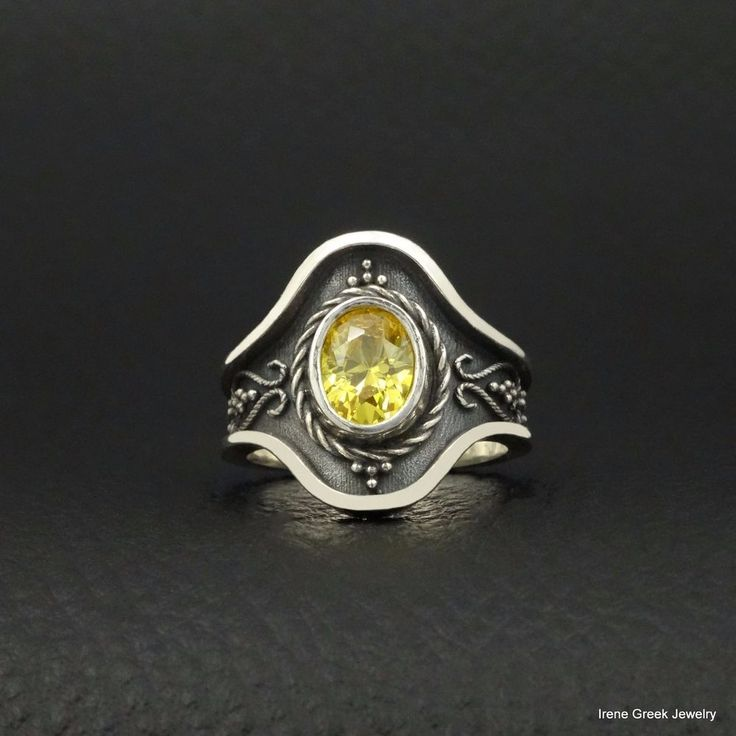 UNIQUE CITRINE CZ BYZANTINE STYLE 925 STERLING SILVER GREEK HANDMADE ART RING #IreneGreekJewelry