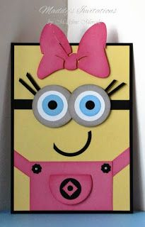 girl minion invitations | Other party items to match your event can be ordered as well.