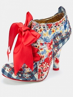 Irregular Choice - Abigails Party Shoe Boots, Blue. Don't care for the red bow. love the boot shoe