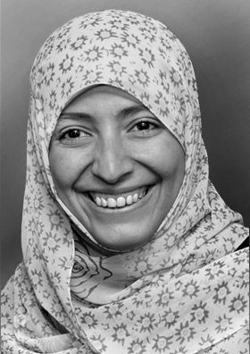 "Tawakkol Karman, Winner of the Nobel Peace Price 2011 (together with two other women) ""for their non-violent struggle for the safety of women and for women's rights to full participation in peace-building work"""