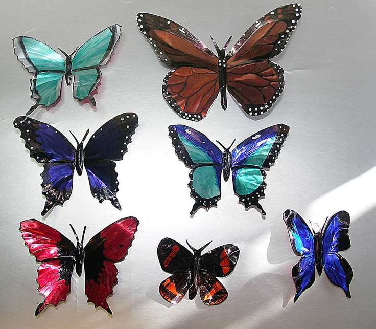 Make butterflies out of aluminum cans. http://www.instructables.com/id/Drink-Can-Butterflies/