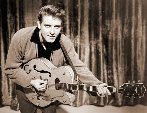 "Eddie Cochran, one of the very first guitar heroes. He helped to make Gretsch guitars a ""go to"" instrument for players of just about any genre. Nobody did ""cool"" like Eddie Cochran."