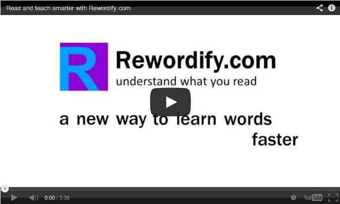 """Rewordify.com video  Rewordify - Is one of the most interesting sites I've come across this year.  This site allows students to enter text (or copy/paste) and then with a click of a button """"rewordify"""" their sentence. This is a great way to learn how to paraphrase or even work on vocabulary by highlighting words. - See more at:  http://rewordify.com/index.php"""