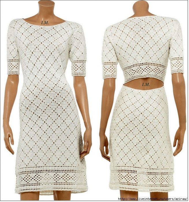 Crochet dress with pattern. This blog has lots of patterns (this is in the 5th page from the end)