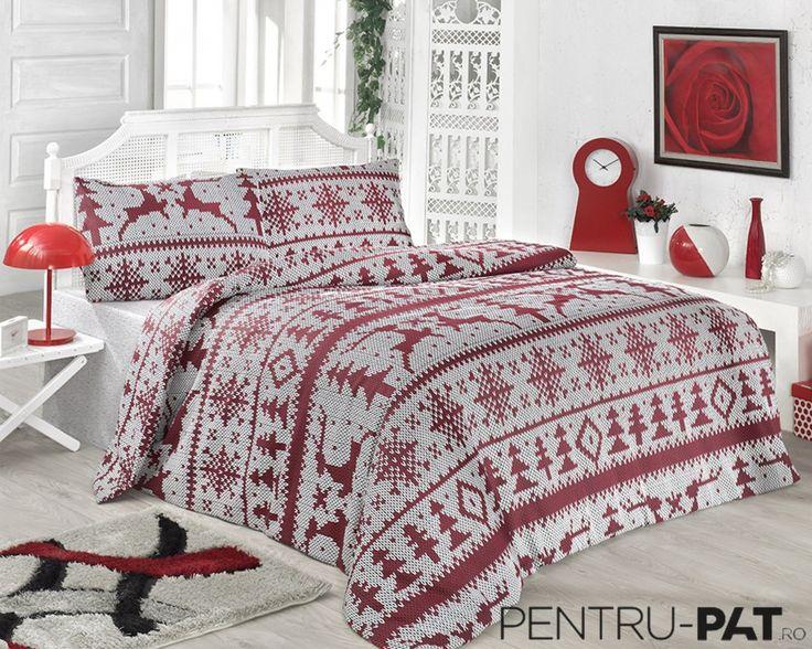 Set cuvertura pat pentru doua persoane Anatolia red & white