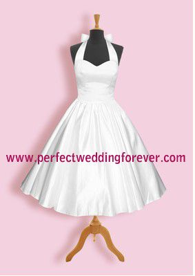£49 Aline Lace Up Closure 50's Wedding Dresses halter neck sweetheart neckline (PWF5W0007)