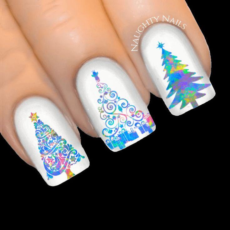 OPAL STARDUST Christmas Tree Nail Art Water Transfer Decal Sticker Xmas Tattoo