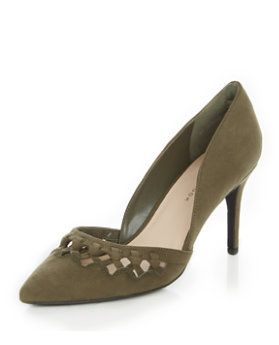 Wide Fit Khaki Suedette Woven Trim Pointed Heels  | New Look
