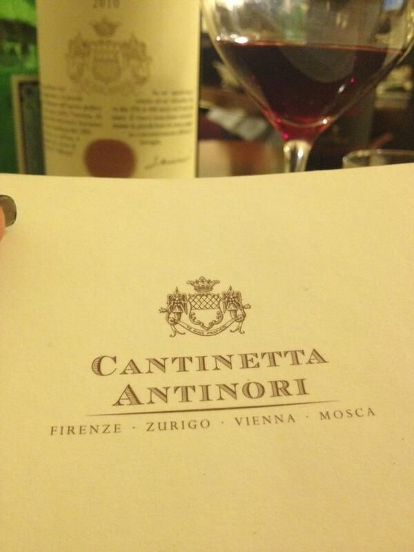 """Via Twitter @antinorifamily thanks to @BobbyStuckeyMS: """"@AntinoriFamily always love Fri afternoon lunch in your Cantinetta Antinori in the heart of Firenze with @Danette Stuckey""""."""