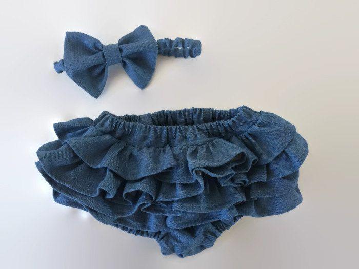 Denim Diaper Cover-Denim Bloomer-Ruffle Diaper Cover-Baby Denim Skirt-Baby Ruffle Skirt-Baby Jean Skirt-Denim Headband-Denim Bow by PicaflorGarters on Etsy