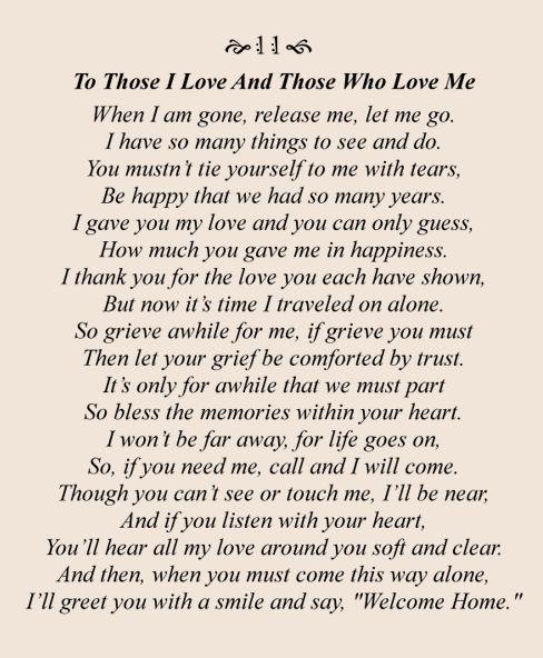 To Those I Love And Those Who Love Me (very beautiful poem)