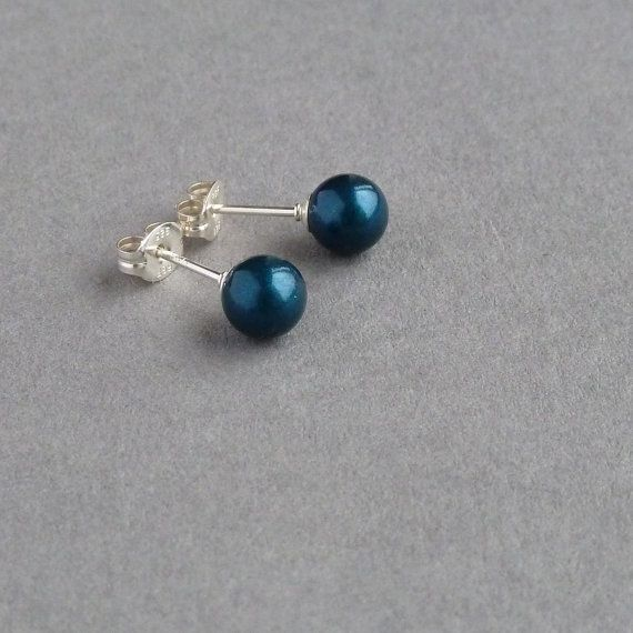 Teal Pearl Stud Earrings Petrol Blue by annakingjewellery on Etsy
