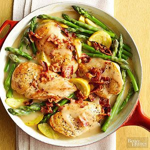 Less than 30 minutes to prepare dinner? No problem. This chicken, asparagus, and summer squash main-dish recipe will satisfy your family's appetite./