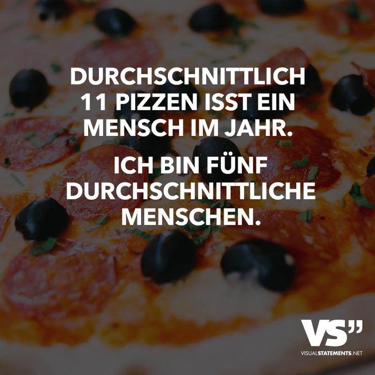 Durchschnittlich 11 Pizzen isst ein Mensch im Jahr. Ich bin fünf durchschnittliche Menschen.