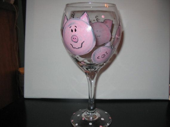 Large 20 Oz Wine Glass I Painted With Pig Faces By Ipaintstuff