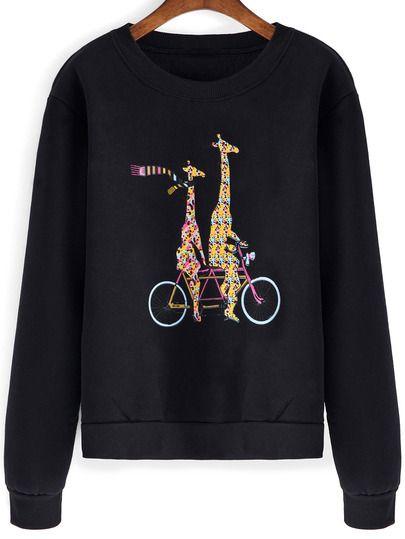 Чёрный свитшот с принтом Giraffe