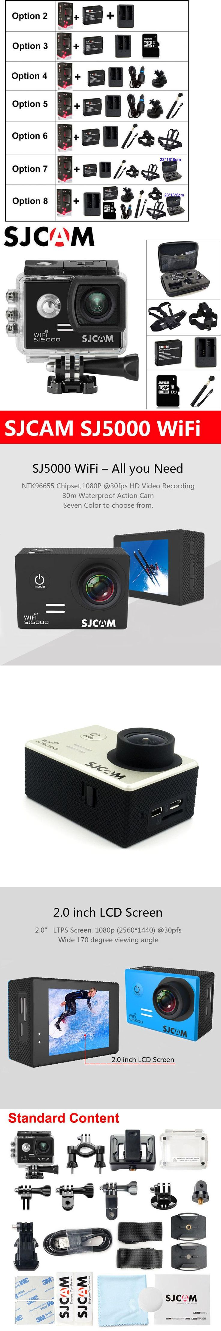 "SJCAM SJ5000 WiFi Action Camera Sports DV 1080P HD 2.0"" Screen Diving 30M Waterproof mini Camcorder Original SJ 5000 Sport Cam"