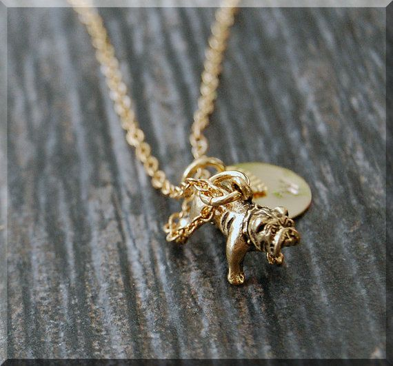 Gold English Bulldog Charm Necklace Initial Charm Necklace