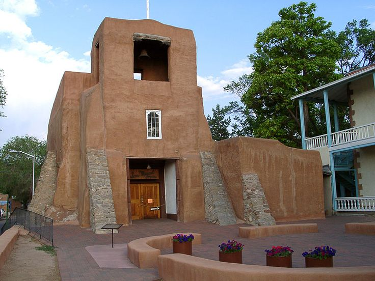 San Miquel Chapel in Santa Fe. Said to be the oldest church structure built in the continental USA. The original adobe walls and altar were built by the Tlaxcalan Indians from Mexico, but much of the structure was rebuilt in 1710. Building has been within the U.S. since 1848, when the New Mexico territory was annexed.